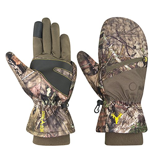 Hot Shot Mens Huntsman Camo Thinsulate Insulated Hunting Poptop Glove Mitten Protext Touchscreen Technology