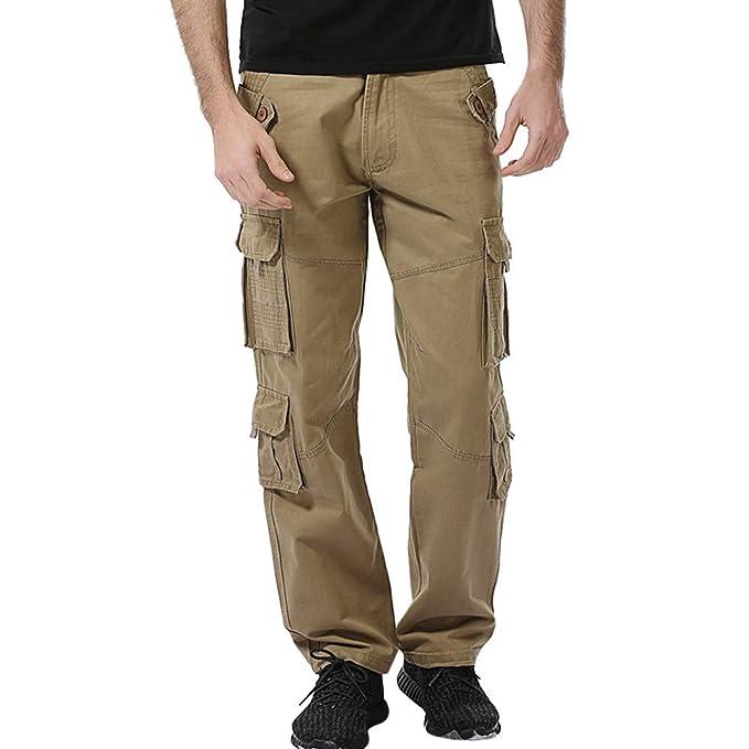 d52afed47b Moda Hombre Algodón Casual Multi-Bolsillo Aire Libre Trabajo Pantalón Cargo  Pantalones Largos EláStico Hombre Corte Recto Estilo Liso Casual con  Perneras ...