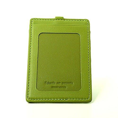 スリップオン slip-on ノワール Noir リール付き縦型IDケース カードケース おしゃれ メンズ ビジネス B00H4T5UBE ライトグリーン