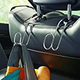 High Road Contour Car Hooks Metal Headrest Hangers - 2 Pack (Chrome)