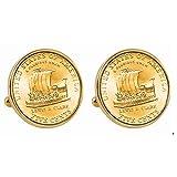 Gold-Layered 2004 Keelboat Nickel Goldtone Bezel Cuff Links