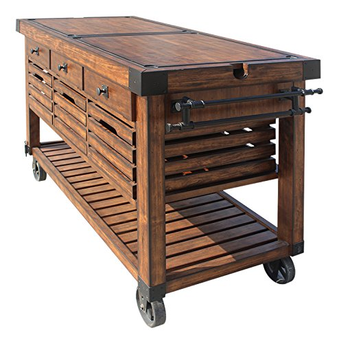 Farmhouse Kitchen ACME Furniture Kitchen Cart, Distress Chestnut farmhouse kitchen islands and carts