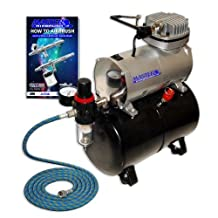 Model TC-20T - Professional High Performance Single-Piston Airbrush Air Compressor with Air Storage Tank, Regulator, Gauge & Water Trap Filter (Includes 6 ft. Braided Air Hose)