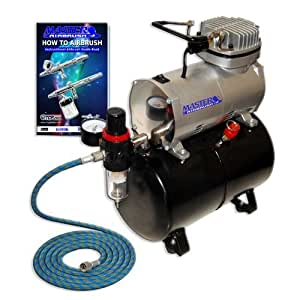 NEW Quiet 1/6 hp MASTER AIRBRUSH TANK COMPRESSOR-(FREE) AIR HOSE and Now a (FREE) How to Airbrush Training Book to Get You Started, Published Exclusively By TCP Global.