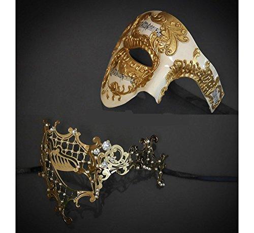 His and Her Masquerade Masks Phantom of the Opera Gold Masquerade Masks Set by Yacanna (Vintage Phantom Gold) (Phantom Of The Opera Costume Couples)