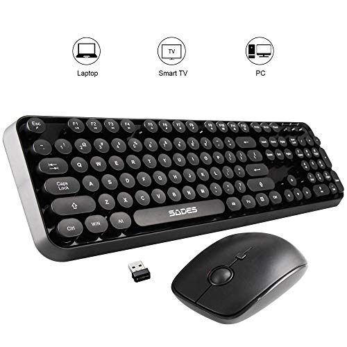 SADES V2020 Wireless Keyboard and Mouse Combo,Retro Keyboard with 2.4GHz Dropout-Free Connection, Long Battery Life for Office/Gaming (Black)