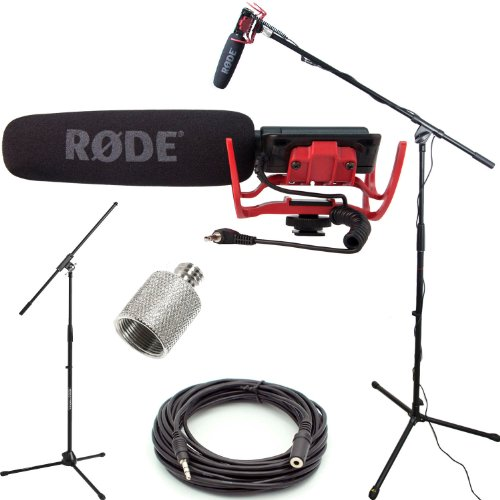 Videomic Camera Mounted Microphone Shotgun (RODE VideoMic Studio Boom Kit - VM, Boom Stand, Adapter, 25' Cable)