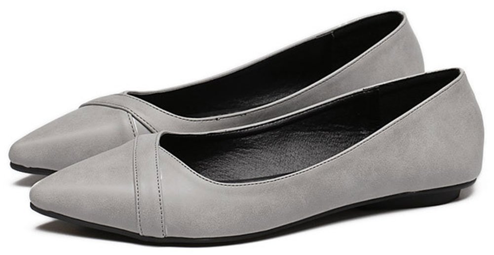 QZUnique Women's Classic Pointy Toe Shoes Ballet PU Leather Slip On Flats 5-5.5
