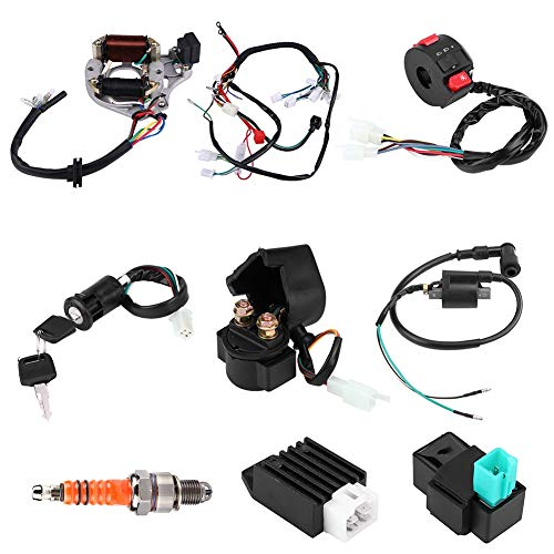 (Harness Assembly Wiring Kit for 50cc 70cc 90cc 110cc 125cc ATV Electric Start Quad,Complete Electrics CDI Coil Wiring Loom Harness Kit)