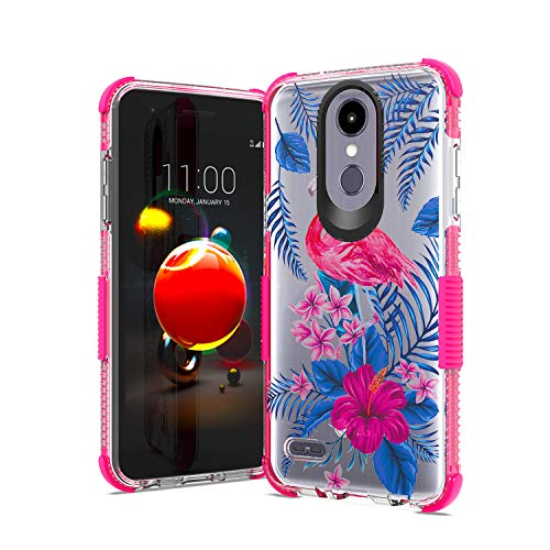 UNC Pro Cell Phone Case for LG X210/LG Aristo 3/LG Rebel 4/LG Tribute Empire, Soft Clear TPU Case 3D Printed Flamingo Hybrid Case, Shockproof Bumper Anti-Scratch Cover (Boost Mobile Cases)