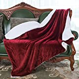HoroM Sherpa Throw Blanket Wine Red 50