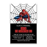Birthday Invitations - Super Hero Party - Spiderman - Custom Birthday Invitations (20 invitations & 20 envelopes)