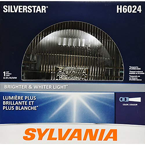 "SYLVANIA H6024 SilverStar High Performance Halogen Sealed Beam Headlight (7"" Round) PAR56, (Contains 1 Bulb)"