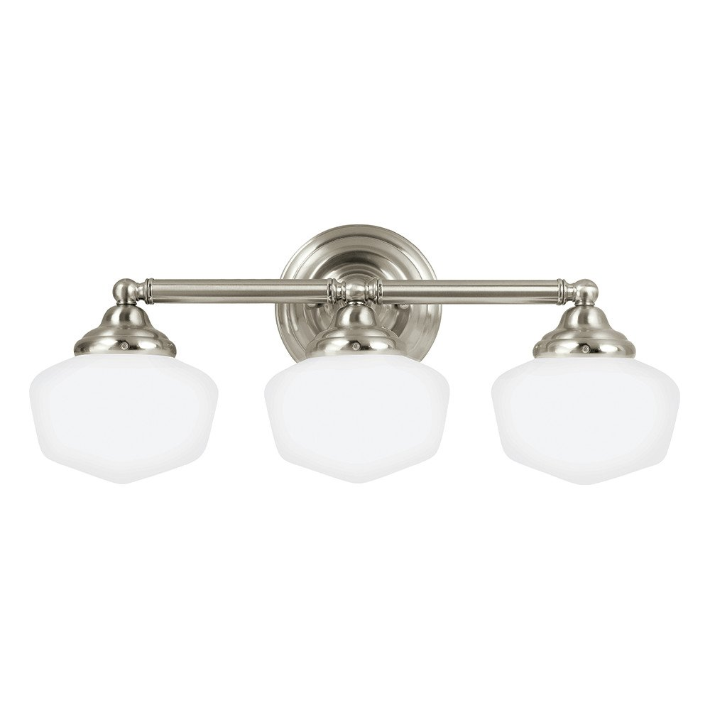 Sea Gull Lighting 44438-962 Academy Three-Light Bath or Wall Light Fixture with Satin White Glass, Brushed Nickel Finish