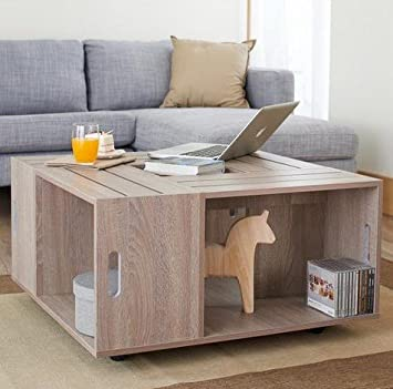 Amazoncom Rustic Square Crate Style Wood Like Coffee Table with