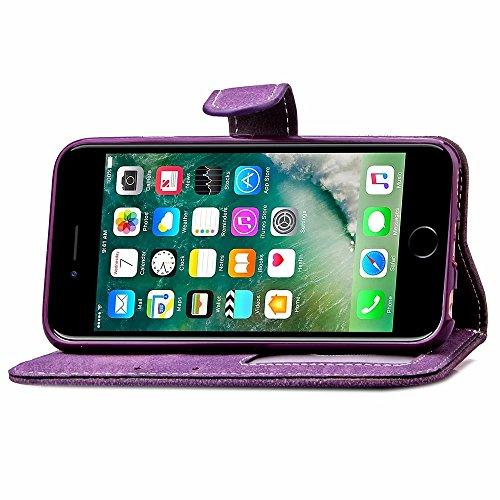 SRY-Bolsa para teléfono móvil Flores en relieve Retro Folio Premium PU caja de cuero magnético de cierre de la cartera de pie estilo de la mano correa cubierta de la caja para iPhone7 ( Color : Rose , Purple