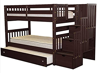 Bedz King Stairway Bunk Bed Twin over Twin with 3 Drawers in the Steps and a Twin Trundle, Cappuccino