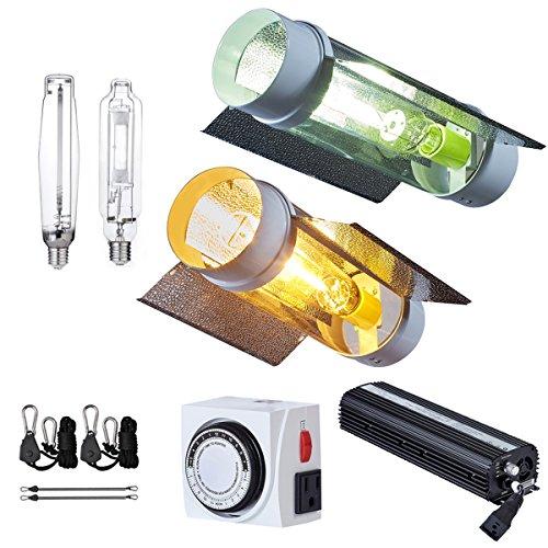 Ballast Cool Tube - PrimeGarden 1000W MH HPS 120~240V Grow Light Fixture w/Cool Tube Reflector Digital Ballast Rope Hanger Timer 120V Cord for Hydroponic Indoor Plant Growing System (Cool Tube Reflector 1000W(MH+HPS))