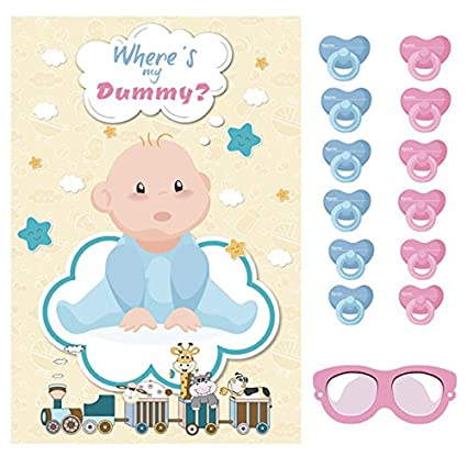Baby Shower Game Pin The Dummy Pacifier On Baby Party Packs to 8 16 24 35 Guests