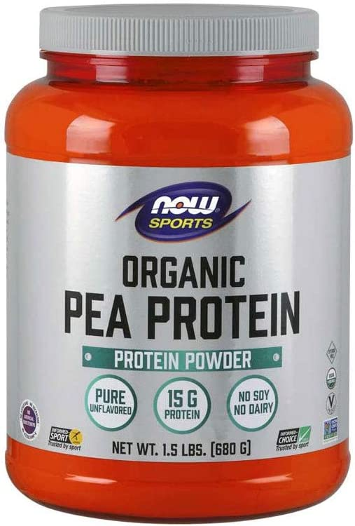 NOW Sports Nutrition, Organic Pea Protein 15 Grams, Unflavored Powder, 1.5-Pound