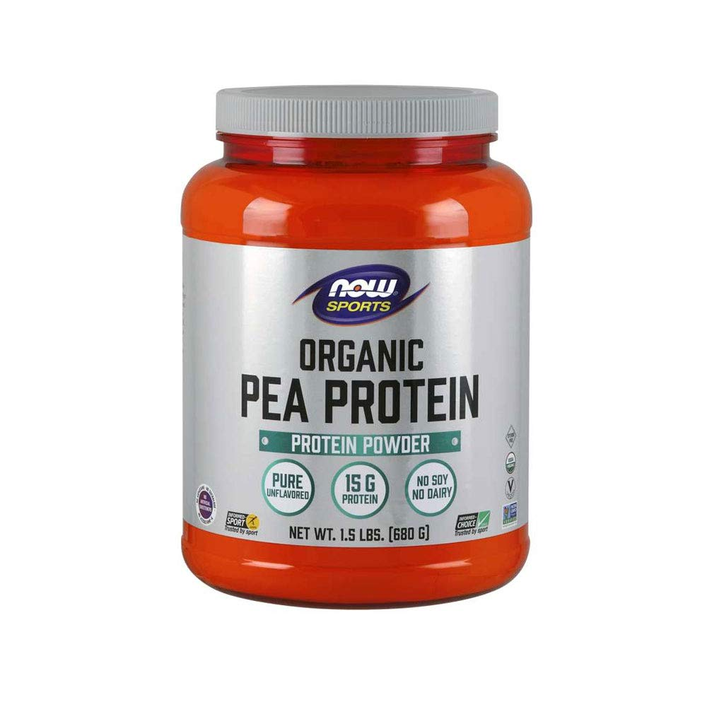 NOW Sports Nutrition, Organic Pea Protein Powder, Unflavored, 1.5-Pound by NOW Foods