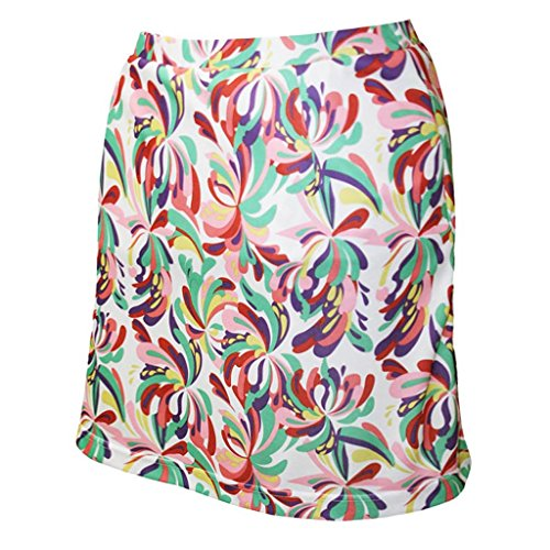 Monterey Club Ladies' Dry Swing Water Fountain Print Pull-on Skort #2917 (White/Spring Bud, 2X-Large)