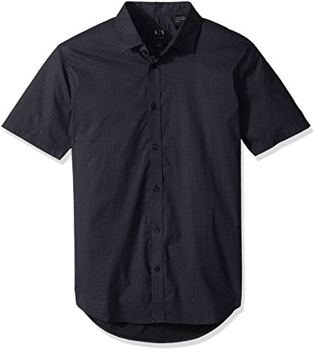 A|X Armani Exchange Men's Short Sleeve Woven Button Down Shirt, CRIS-CROS Dots Chack, M