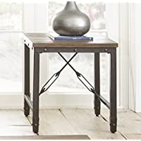 Industrial Style Square Jarno End Table Complemented By Its Wood Plank Style Pine Finished Top (24 inches high x 23 inches wide x 23 inches deep).