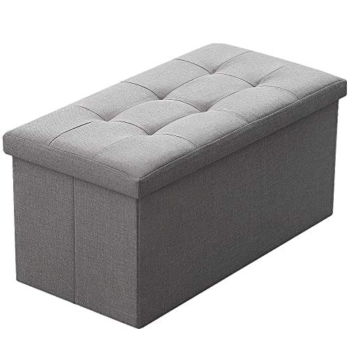Camabel Folding Storage Ottoman Bench Cube 30 inch Fabric Storage Chest with Memory Foam Seat Footrest Padded Upholstered Stool Tufted for Bedroom Living Room Toy Box Foot Rest Coffee Table Grey (Storage Ottoman Covered Fabric)