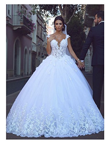 Women's Fantastic Tulle V-Neck Wedding Dresses Ball Gown Beaded Wedding Dresses for Bride 2019 with Lace Appliques