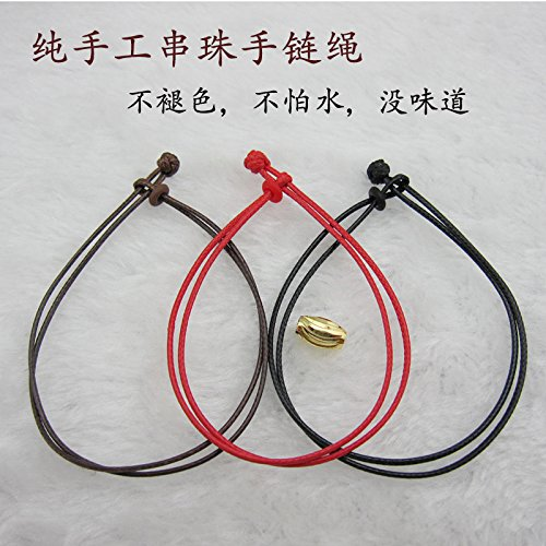 Gold Hand Woven Rope - Pure two-ply leather cord bracelet hand wax rope silver anklet gold transfer beads beaded black and red hand-woven rope men and women