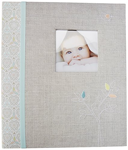 C.R. Gibson Grey 'Linen Tree' Loose Leaf First Five Years Memory Baby Book, 64pgs, 10'' W x 11.75'' H.