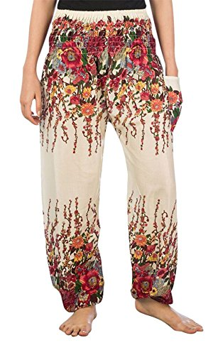 Lofbaz Women's Floral Printed Harem Pants Ivory M