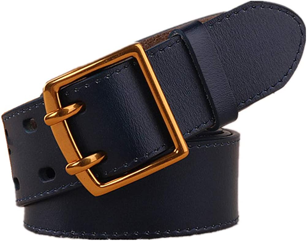 Women Real Leather Belts Double Gromments 1.5Inch Wide Waist Dressy Belts For Jeans Pants