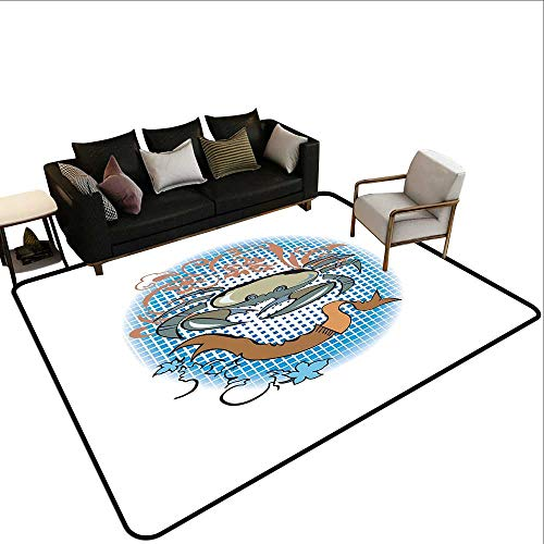 Non-Slip Floor mat,Cancer Sign in Cartoon Tattoo Style Astrological Theme with Floral Details Horoscope 6'x8',Can be Used for Floor Decoration
