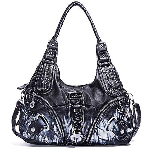 (Angel Kiss Purses and Handbags for Women Ladies_Shoulder Bag Designer Tie Dye Satchel Fashion Totes for Gril (11282Z black) )