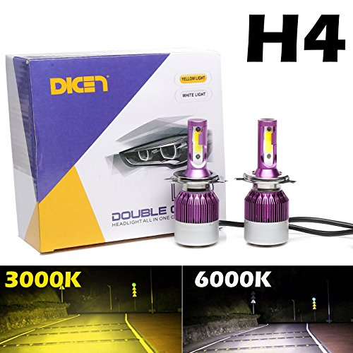 LED Headlight Bulbs H4 9003 HB2 Dual Color 6000K White High Beam + 3000K Yellow Low Beam, 12000LM COB Chips Plug and Play (Pack of 2)