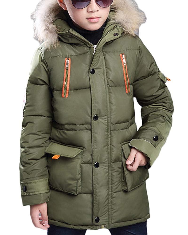 Jungen Einfarbig Jacke Mantel Warm Parka Tasche Winterjacke