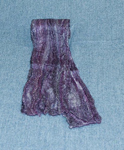 (Merino Wool and Silk Women's Felted Scarf. Color is Black Current Purple )