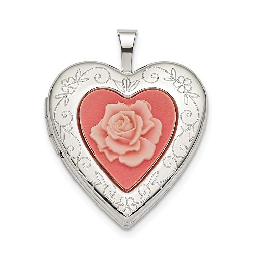 Sterling Silver 20mm Pink Resin Rose Cameo Heart ()