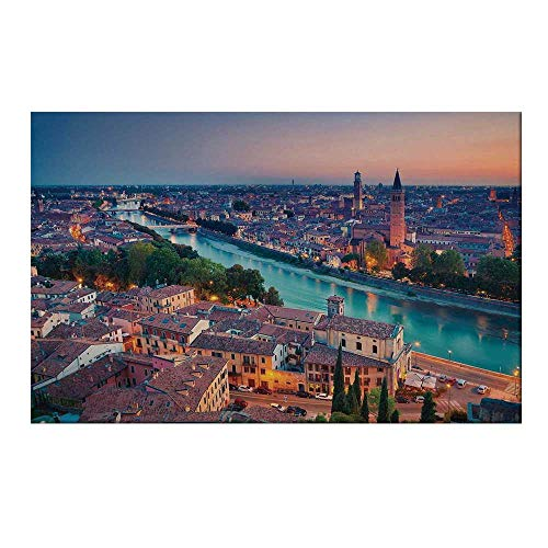 YOLIYANA European Durable Door Mat,Verona Italy During Summer Sunset Blue Hour Adige River Medieval Historcal for Home Office,17.7