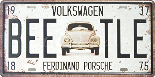Volkswagen Bee-tle, Auto License Plate, Embossed TAG Number, Size 6