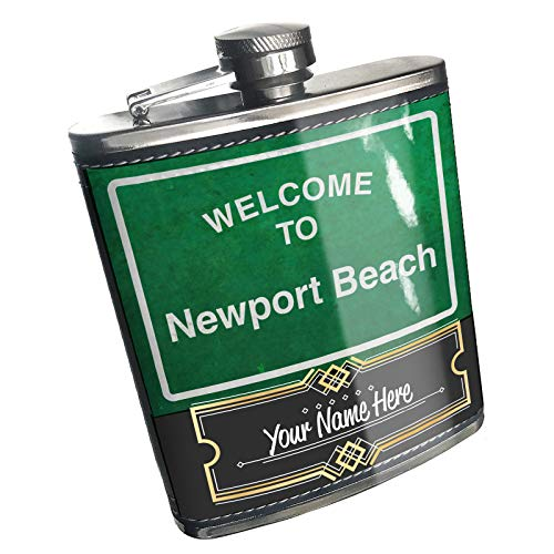 Neonblond Flask Green Road Sign Welcome To Newport Beach Custom Name Stainless Steel (Beach Green Newport)