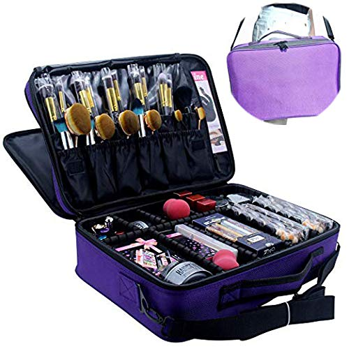 MONSTINA Makeup Train Cases Professional Travel Makeup Bag Cosmetic Cases Organizer Portable Storage Bag for Cosmetics Makeup Brushes Toiletry Travel Accessories (L-Purple-Two)