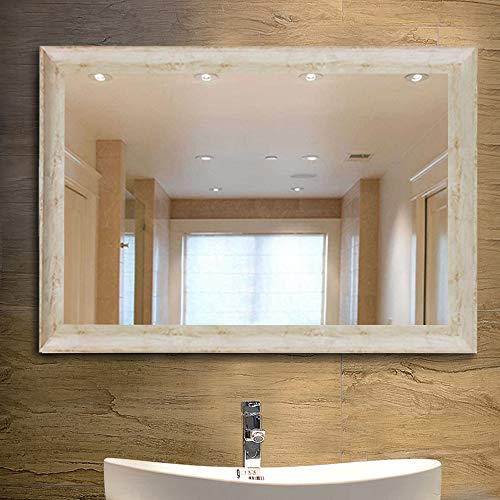 NeuType Large Bathroom Mirrors Wall Mounted Mirrors for Bathroom Bedroom Living Room,White Wood Grain Vanity Mirror,High Polymer Material Frame,Burst-Proof Glass,Two Hanging Ways(36