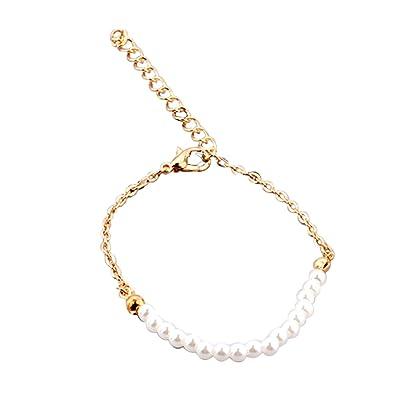 d469b00a16c8 joyliveCY Pulsera de Cadena Ajustable de Moda para Mujeres Regalo de la  Joyería de Dama de Honor Diseño de Perlas Artificiales de Oro  Amazon.es   Joyería
