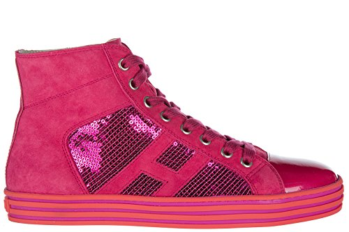 Hogan Rebel Chaussures Baskets Sneakers Hautes Femme en Daim r141 Fuxia