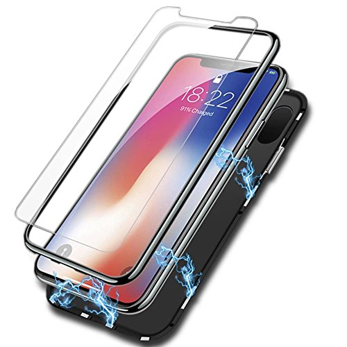 Valuri Ultra Thin Magnetic iPhone X Slim Fit Case + Tempered Glass Screen Protector - Fully Protective Magnetic Absorption Technology - Premium Anti Scratch Metal Frame - [Supports Wireless Charging]