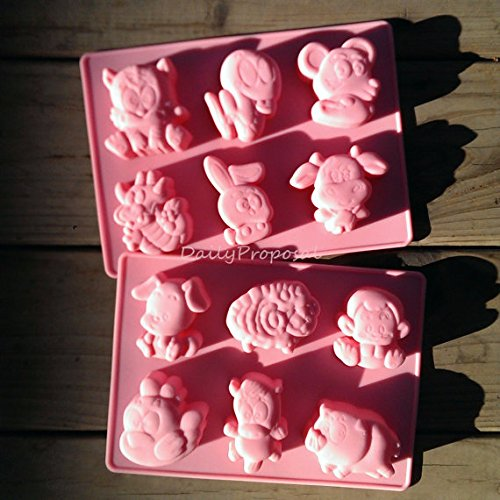 - 12 Chinese Animal Zodiac Silicone Mold Horoscope Bakeware Baking Cookie Cake Pastry Chocolate Brownie Candy Butter Jello Ice Cream Tray