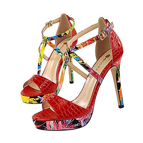 z&dw Super alto talón impermeable mesa de color floral t-Band Sexy sandalias Rojo